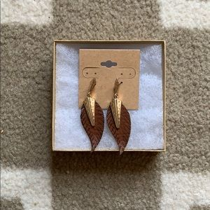 Gold and leather feather earrings